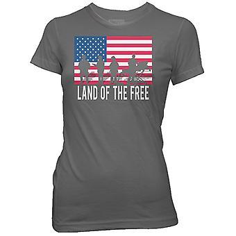 Ranger Up Women's Land of the Free T-Shirt - Gray
