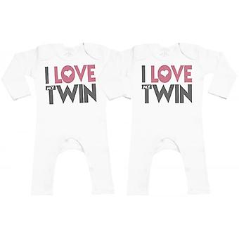 Spoilt Rotten I Love My Twin Baby Footless Romper Twins Set