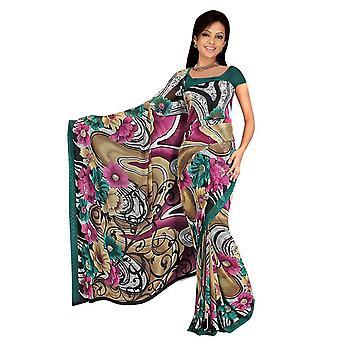 Deepa Georgette gedruckt Casual Sari Sari Bauchtanz Stoff