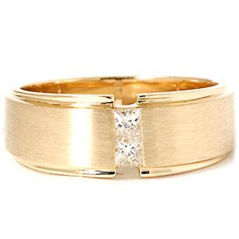 Mens Gold Prinzessin Schnitt Diamant Ehering gebürstet