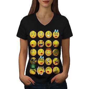 Emoticon Cool Joke Funny Women BlackV-Neck T-shirt | Wellcoda