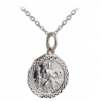 Silber 13x13mm dodecagonal Diamant Schnittkante St Christopher Pendant mit einem Rolo Kette 24 Zoll