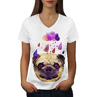 Pug Dog Rain Cool Funy Women WhiteV-Neck T-shirt | Wellcoda