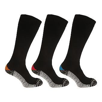 Mens lange lengte versterkt teen werk Boot sokken (pak van 3)
