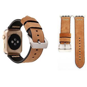 Bracelet en cuir véritable pour la série Apple Watch 1 / 2 / 3 kaki 38 mm