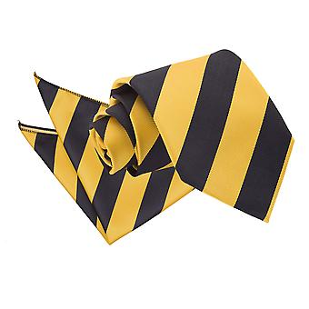 Yellow & Black Striped Tie & Pocket Square Set
