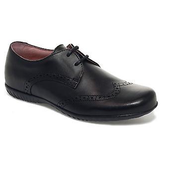 Petasil Girls Emma 5650 Lace School Shoes Black