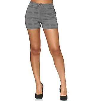 Ladies Shorts Squared Hound's-tooth check Pattern Pants Stretch Waistband Buckle