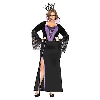 Womens Plus Size Evil Queen Fantasy Long Gown Halloween Costume