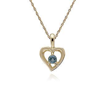 Gemondo 9ct żółte złoto Topaz niebieski pojedynczy kamień serca wisior na łańcuszku 45cm