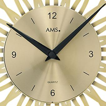 Wall clock quartz wall clock quartz watch gold-tone floral design in plastic