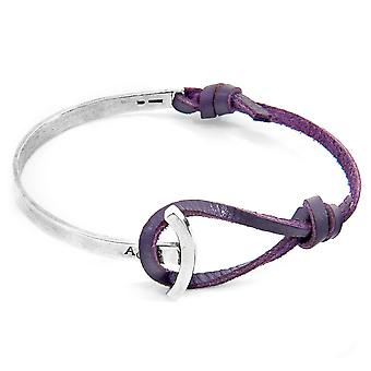 Anchor & Crew Grape Purple Galleon Anchor Silver and Flat Leather Half Bangle