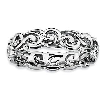 925 plata esterlina patrón rodio chapado expresiones apilables pulido anillo joyería regalos para las mujeres - tamaño del anillo: 5
