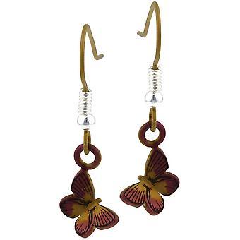 Ti2 Titanium Wald kleiner Schmetterling Ohrringe - braun
