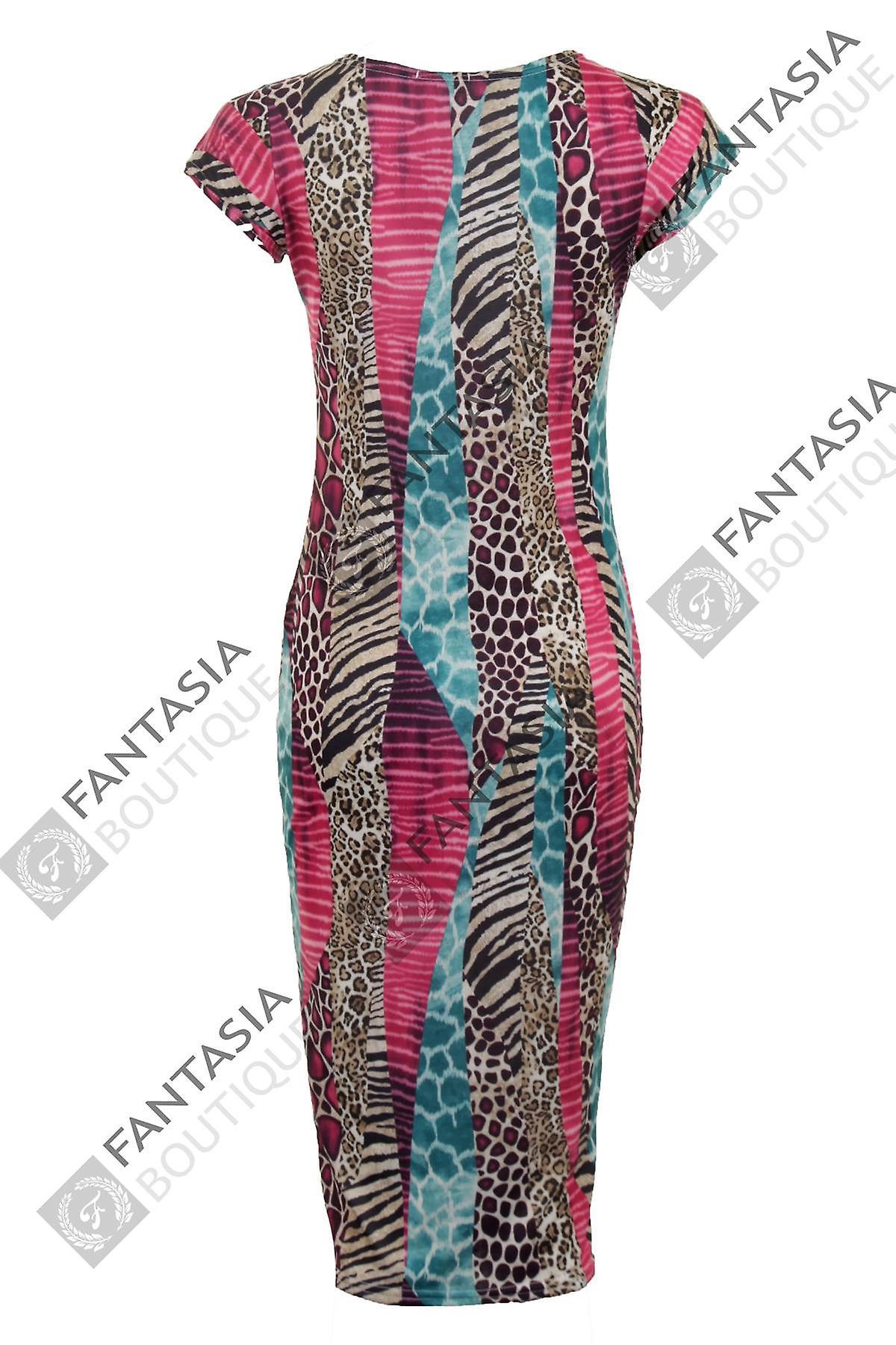 New Ladies Cap Sleeve Tribal Snake Print Midi Women's Bodycon Dress