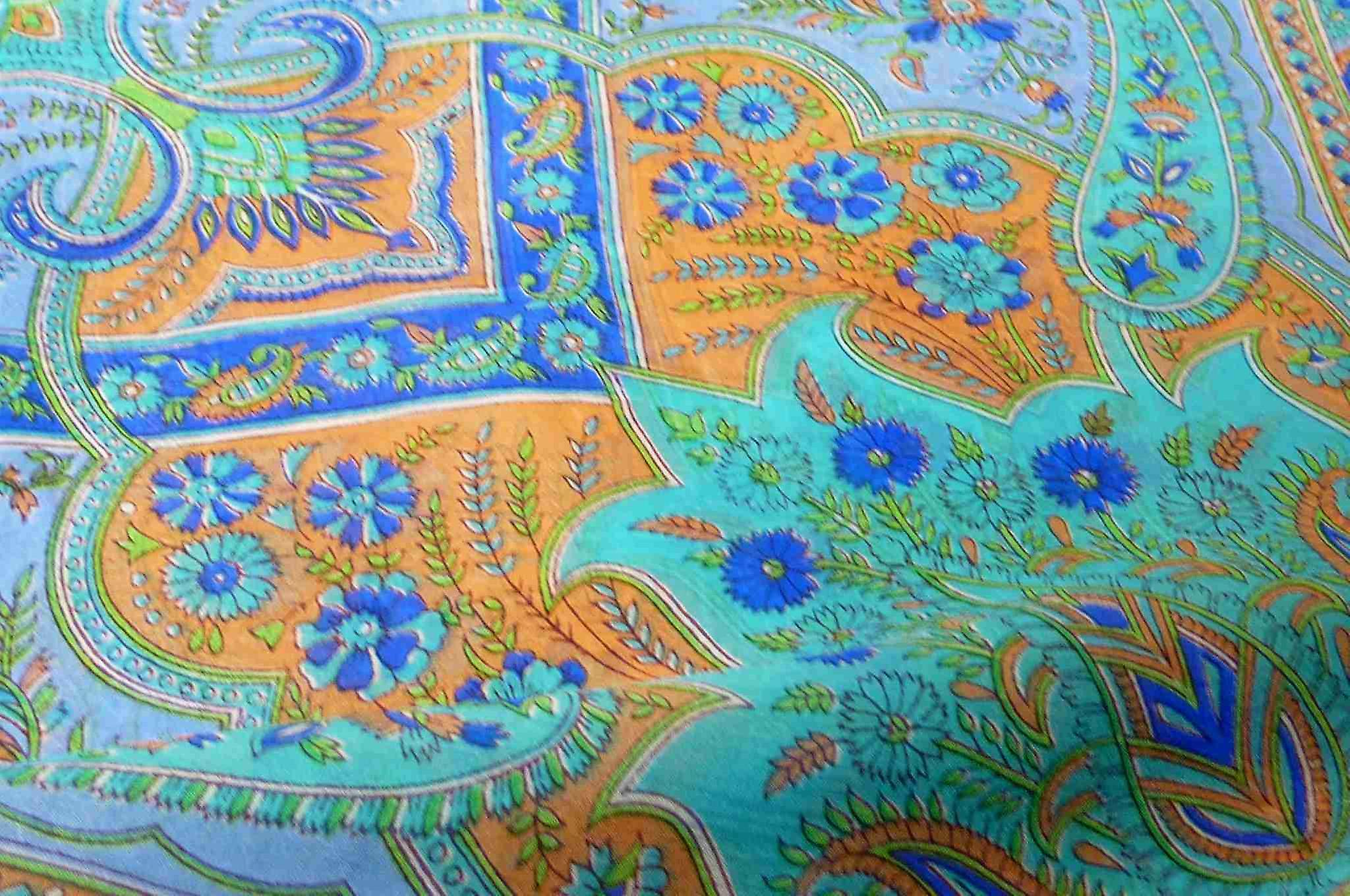 Mulberry Silk Traditional Square Scarf Koyna Blue by Pashmina & Silk