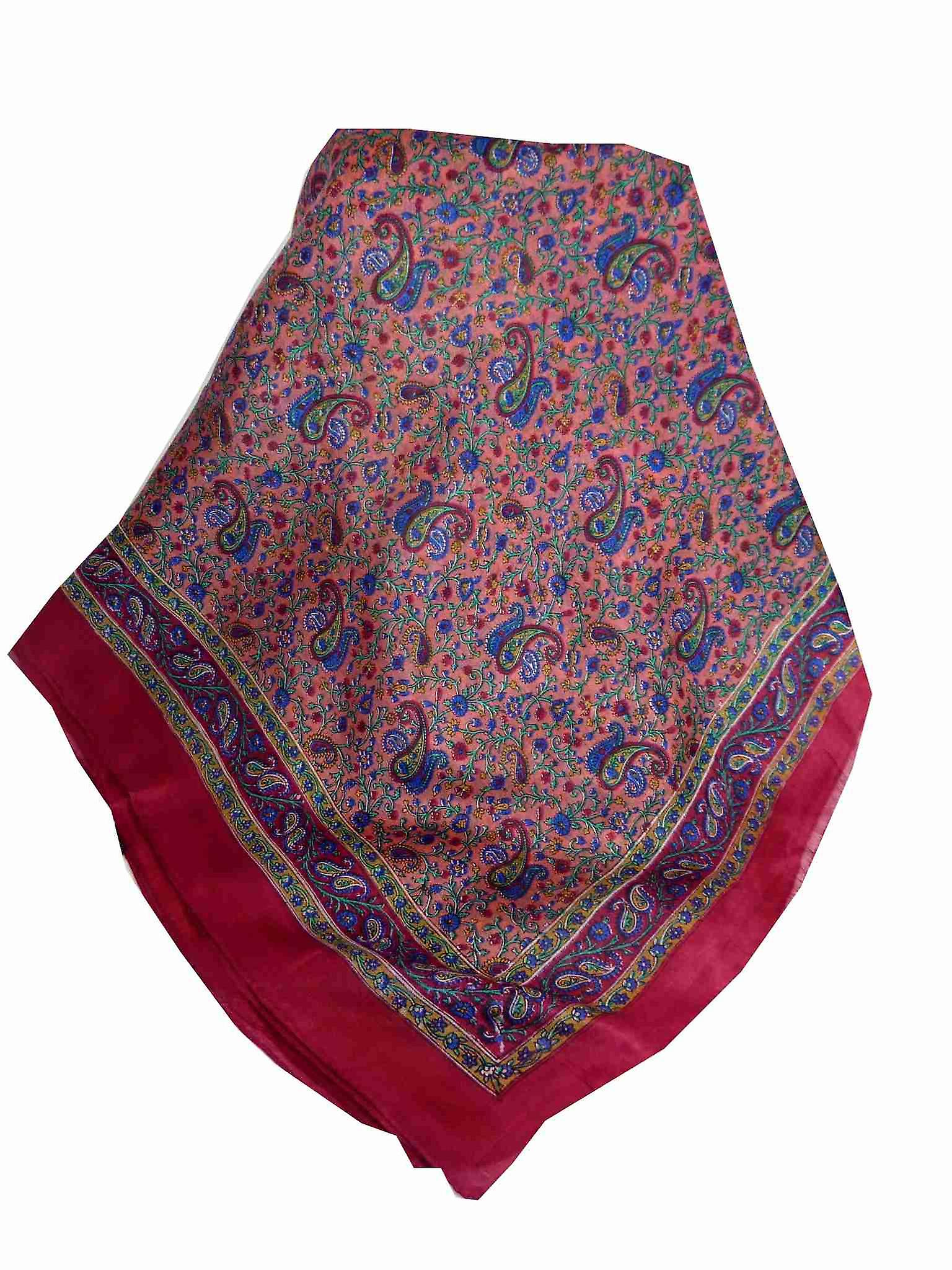 Mulberry Silk Traditional Square Scarf Zena Cerise by Pashmina & Silk