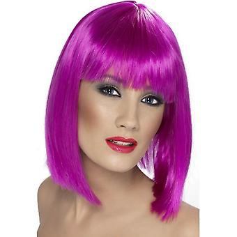 Krótki Neon fioletowy prosto Wig, Wig Glam z grzywką, Akcesoria Fancy Dress.