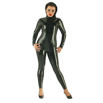 Honour Women's Sexy Catsuit in Rubber Black Zip Front & Back for Easy Access