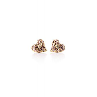 Vivienne Westwood Jewellery Tiny Diamante Heart Gold And Ruthenium