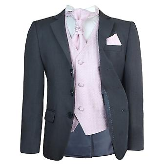 Boys New 5 Pc Grey & Pink Wedding Cravat Suit