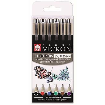 Sakura Pigma Micron Fineliners 6 Assorted Colours 0.45mm