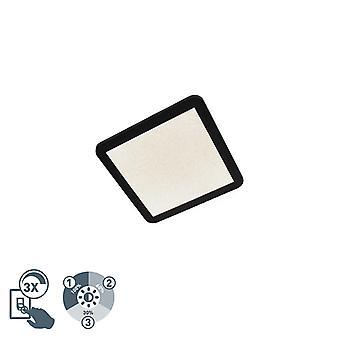 QAZQA Modern Square Decke Lampe 30cm schwarz IP44 inkl. LED - Steve