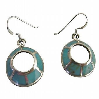 Round Sterling Silver 92.5 Cute Earrings Turquoise Inlay Earrings