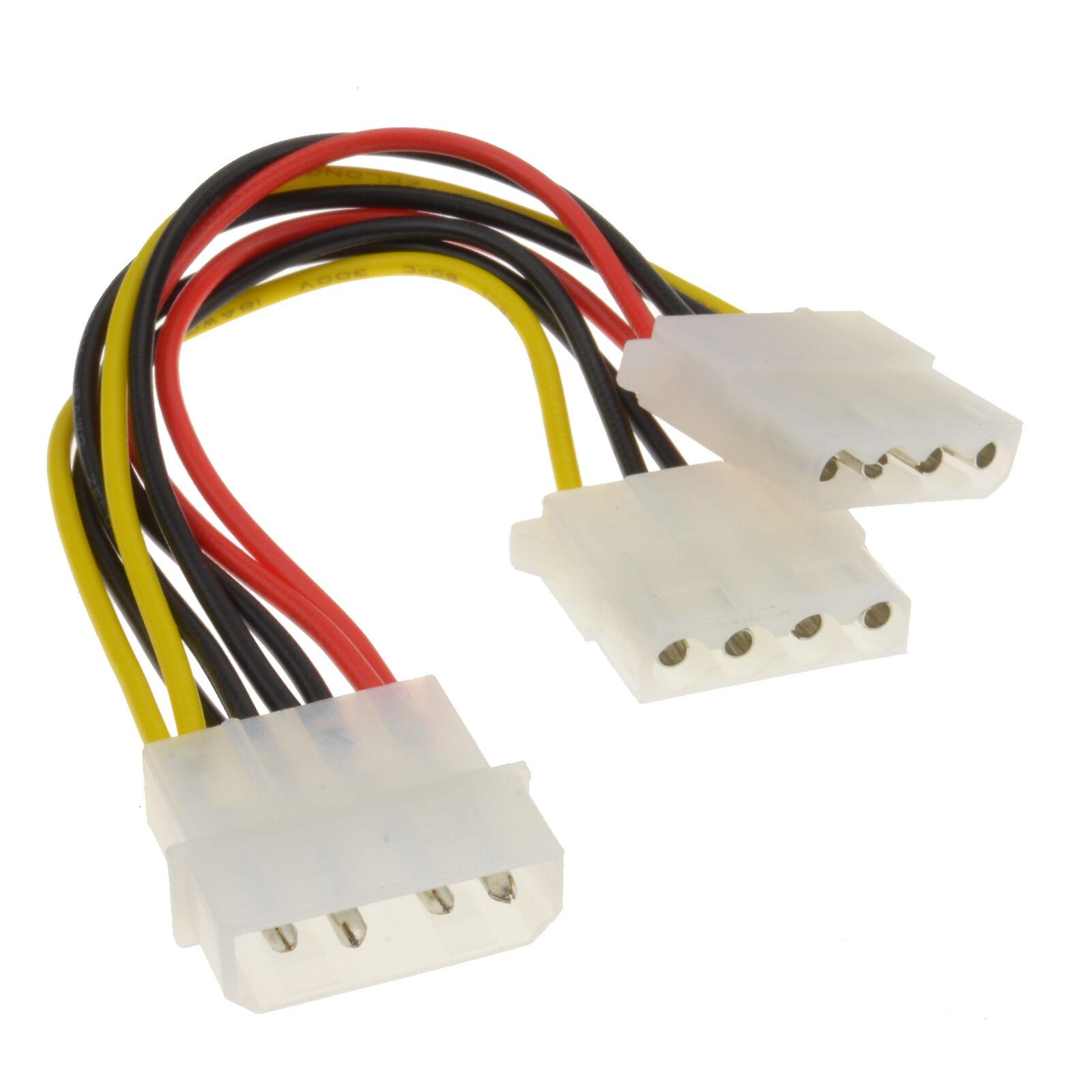 2 Way 4 pin PSU Power Splitter Cable LP4 Molex 1 to 2 CabledUp