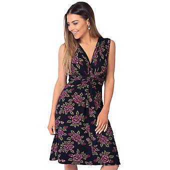 KRISP Womens Floral mini jurk V hals knoop front geplooid Ruched mouwloos zomer