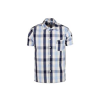 Weekend Offender Rienzo Cream & Navy Check Short Sleeve Shirt