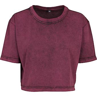 Cotton Addict Womens Acid Washed Cropped Cotton T Shirt