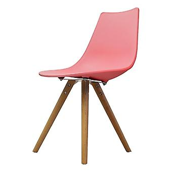 Fusion Living Iconic Pink Plastic Dining Chair With Light Wood Legs