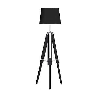Fusion Living zwart hout en chroom statief vloer staande lamp
