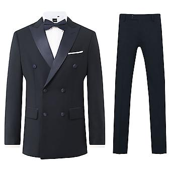 多贝尔男子海军 2 件 Tuxedo 常规适合峰拉佩尔房黑色裤子