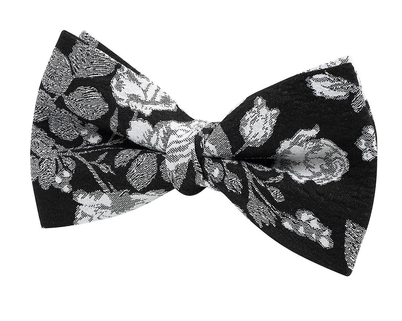 Dobell mens Black Bow tie met witte bloemen Jacquard vooraf gebonden