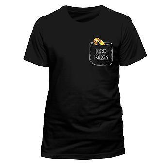 Άνδρες ' s κύριος των δαχτυλιδιών το ένα δαχτυλίδι τσέπης μαύρο T-shirt