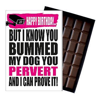 Śmieszne urodziny prezent dla chłopca mężczyźni rude obecny przyjaciel czekolada pozdrowienia karta IYF152