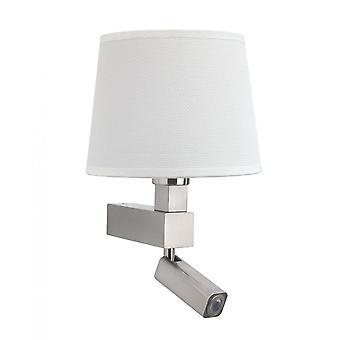 Mantra Bahia Wall Lamp 1 Light Without Shade E27 & Reading Light 3W LED Satin Nickel 4000K, 200Lm,, 3Yrs Warranty