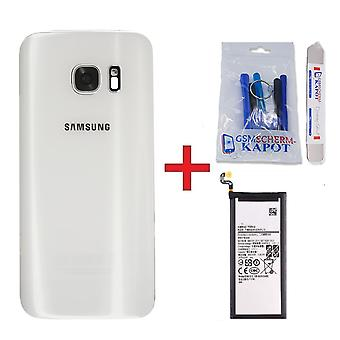 Für Samsung Galaxy S7 Edge Rückabdeckung + batterieweiß