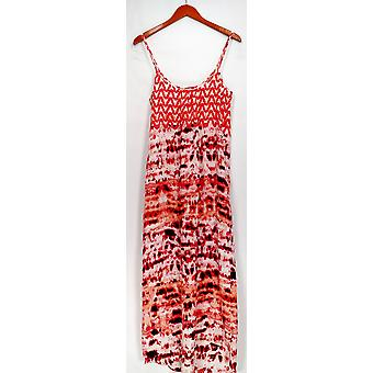 Love Ady Dress Printed Spaghetti Strap Maxi w/ Hi Low Hemline Pink