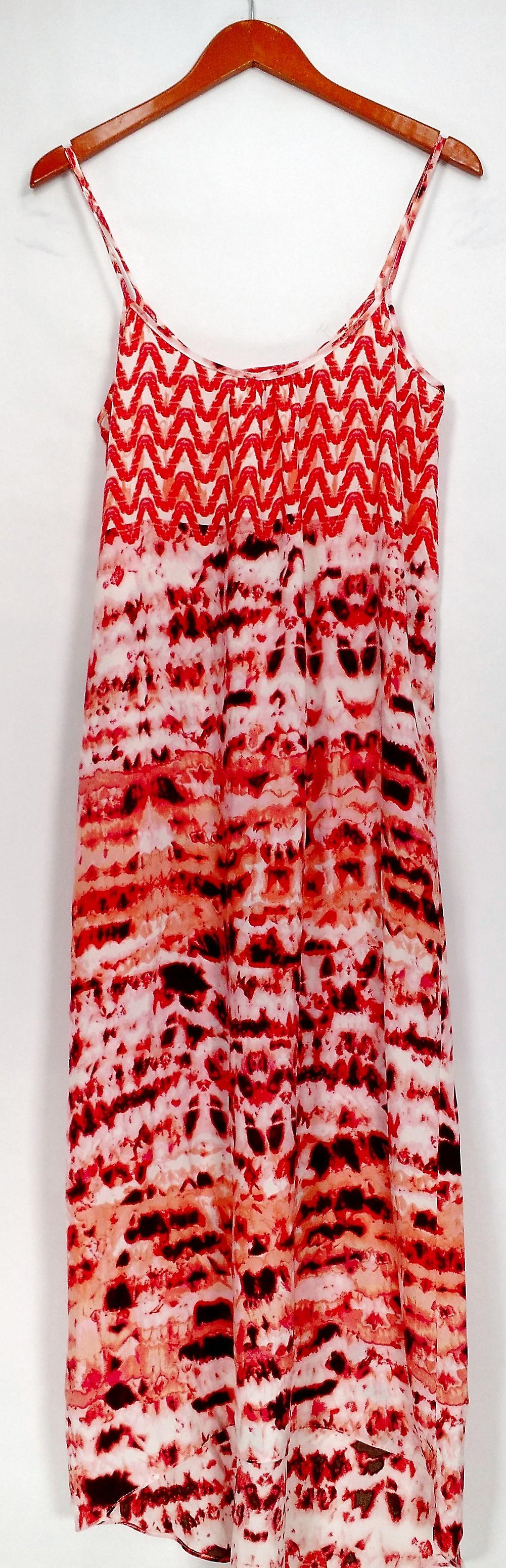 Love Ady Dress Printed Spaghetti Strap Maxi w/ Hi Low Hemline Pink