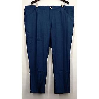 IMAN Petite Pants Skinny Leg Buttoned Pocketed Blue Womens #7