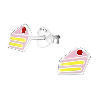 Cake - 925 Sterling Silver Colourful Ear Studs - W18732X