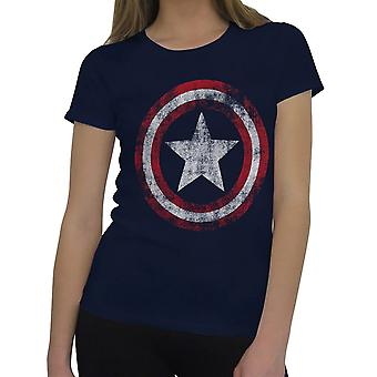 Captain America Frauen's beunruhigt Symbol T-Shirt