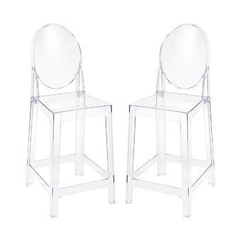 Vanish clear acrylic set of 2 counter stools