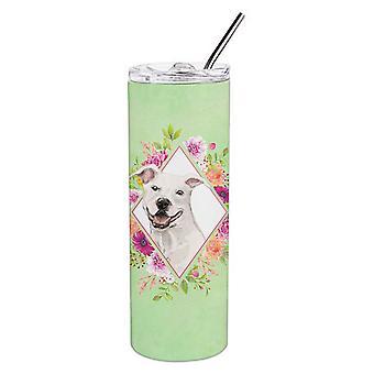 Weiße Grube Bull Terrier grüne Blumen Doppel wandbemauert Edelstahl 20 Oz dünn