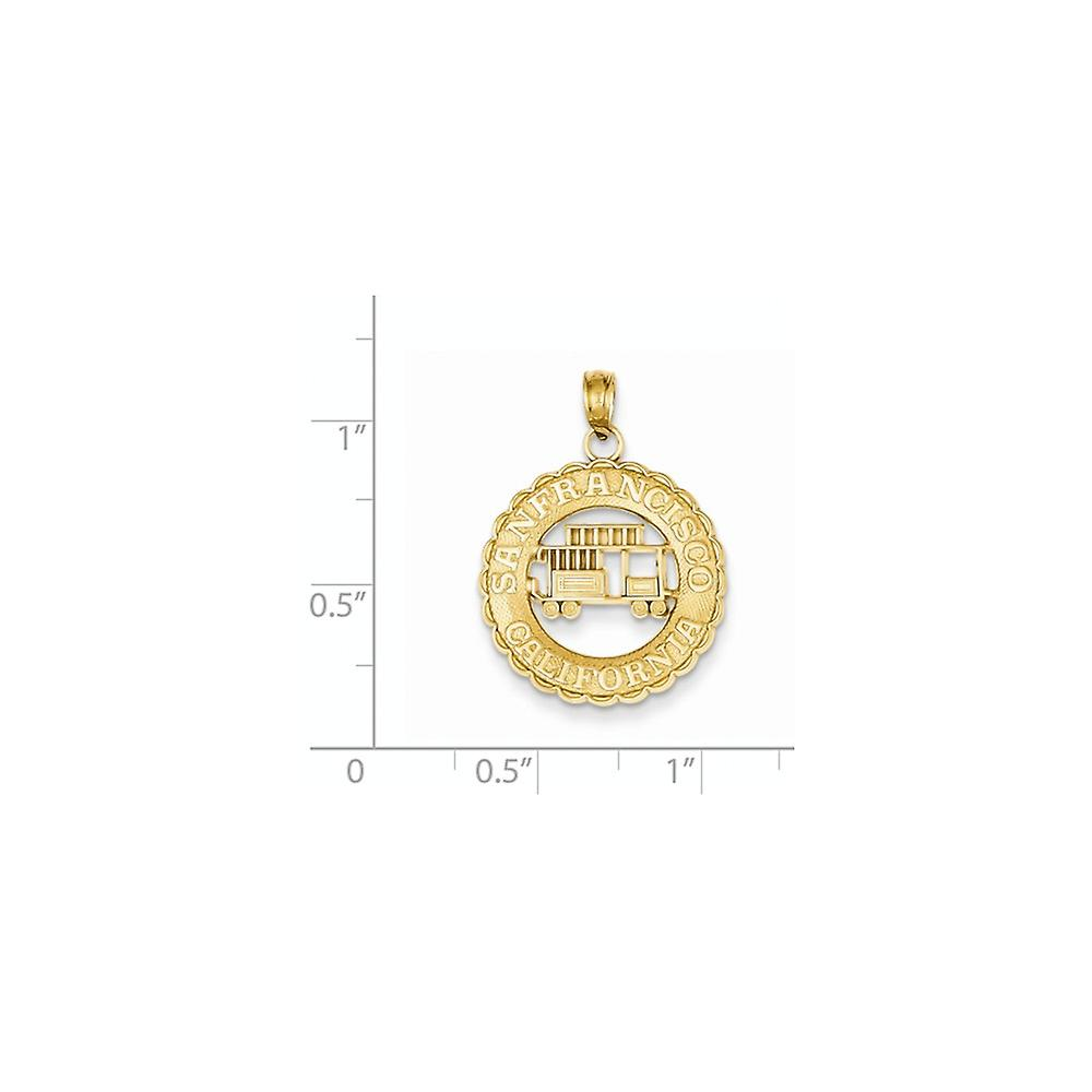 14k Yellow Gold Solid Polished Textured back San Francisco California Cable Car Pendant Necklace Jewelry Gifts for Women