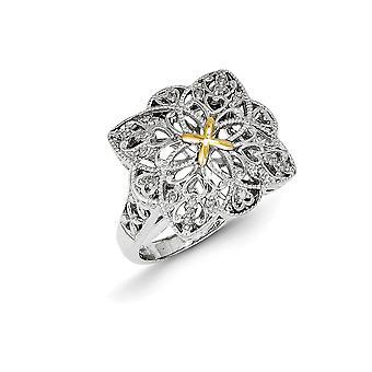 925 sterling silver med 14K 1/10ct diamant Vintage Ring-Ring storlek: 6 till 8