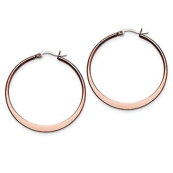 Stainless Steel Tapered Polished Hinged hoop Brown IP plated Brown plated 43mm Hoop Earrings Jewelry Gifts for Women